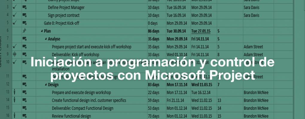 Curso Iniciación a programación y control de proyectos con Microsoft Project